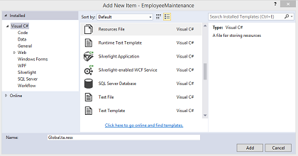 Add Resource File in Visual Studio 2015