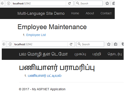Multiple Language Text In Asp.NET MVC View