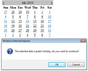 Show javascript confirm box when selecting specific dates or Government holidays in ASP.Net Calendar control